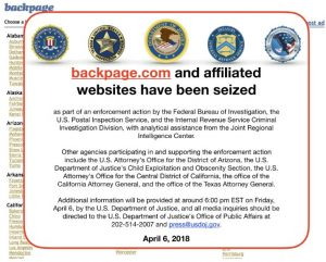 Backpage.com and affiliated websites have been seized - April 06 2018